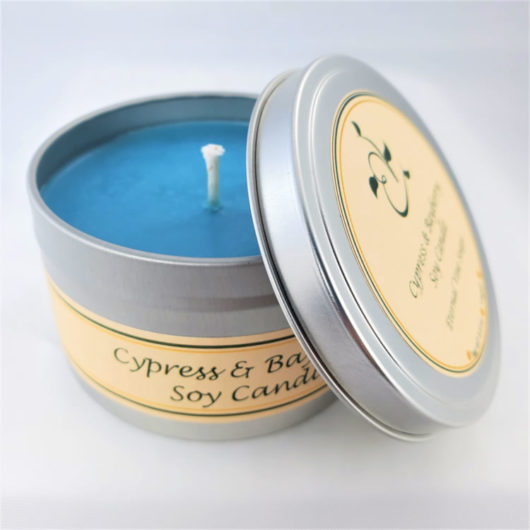 Cypress and Bayberry Soy Candle Open