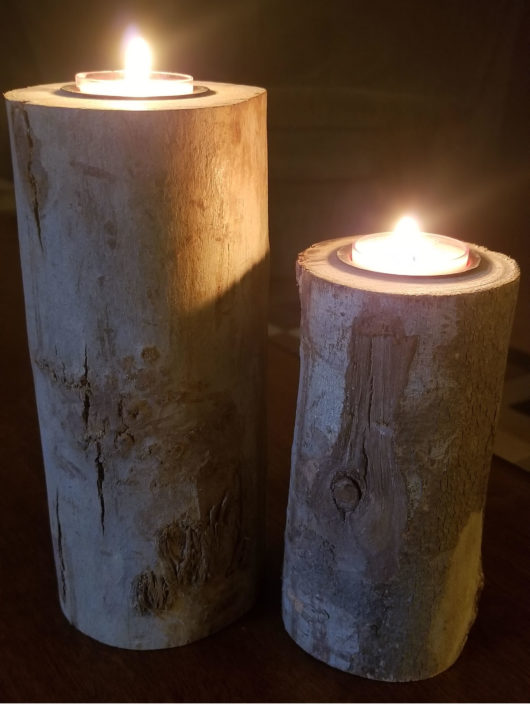 Log Candle Holder Pair Lit