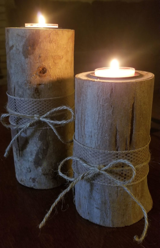 Log Candle Holder Pair Twine Lit