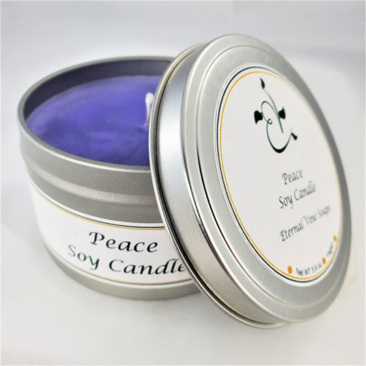 Peace Lavender Soy Candle Open